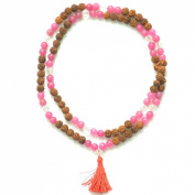 Odishabazaar Pink Jade Unknoted Chakra Japa Mala Yoga Meditation 108+1 Beads