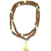 Odishabazaar Tiger Eye Unknoted Chakra Japa Mala Yoga Meditation 108+1 Beads