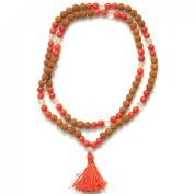 Odishabazaar Coral Unknoted Chakra Japa Mala Yoga Prayer Meditation108+1 Beads