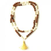 Odishabazaar Howlite Unknoted Chakra Japa Mala Yoga Prayer Meditation 108+1 Bead