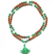 Odishabazaar Malachite Unknoted Chakra Japa Mala Yoga Meditation 108+1 Beads