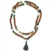 Odishabazaar Black Onyx(lining) Unknoted Chakra Japa Mala Buddhist 108+1 Beads