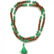 Odishabazaar Green Jade Unknoted Chakra Japa Mala Yoga Meditation 108+1 Beads
