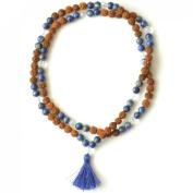 Odishabazaar Lapis Lazuli Unknoted Chakra Japa Mala Yoga Meditation 108+1 Beads