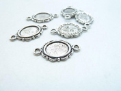 50pcs 8x10mm Antique Silver Cameo Cabochon Base Setting Connector Link C7863