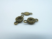 30pcs 8x14mm-4mm Antique Bronze Round Cameo Cabochon Base Settings Connector Link C1852