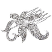 Ecloud ShopUS® Silver Plated Flower Crystal Bridal Prom Hair Comb 6.1cm FASHION