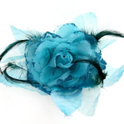 Ecloud ShopUS® Blue Organza Feather Flower Corsage Brooch Pin Hair Band Bridal Fascinator
