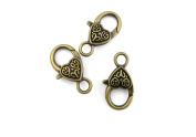 Price per 70 Pieces Jewellery Making Charms YELF0 Carved Lobster Clasp Ancient Bronze Findings Craft Supplies Bulk Lots