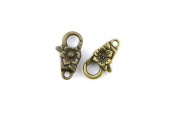 Price per 20 Pieces Jewellery Making Charms GFIN0 Flower Lobster Clasp Ancient Bronze Findings Craft Supplies Bulk Lots