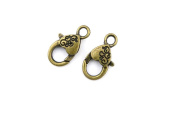 Price per 180 Pieces Jewellery Making Charms PDJY0 Heart-shaped Lobster Clasp Ancient Bronze Findings Craft Supplies Bulk Lots