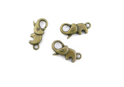 Price per 20 Pieces Jewellery Making Charms TFOX0 Elephant Lobster Clasp Ancient Bronze Findings Craft Supplies Bulk Lots