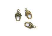 Price per 40 Pieces Jewellery Making Charms IREP0 Heart-shaped Lobster Clasp Ancient Bronze Findings Craft Supplies Bulk Lots
