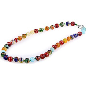 Ecloud ShopUS® Millefiori Lampwork Glass Round Beads Necklace FASHION