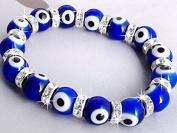 Ecloud ShopUS® Round Blue Evil Eye Lampwork Glass Beads Bracelet 1cm FASHION
