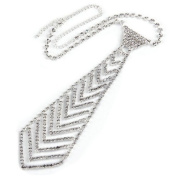 Ecloud ShopUS® Silver Plated Necktie Rhinestone Crystal Necklace Chain Lady