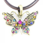 Vintage Feel Gold Tone Crystal Butterfly Pendant Necklace