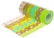 HIART Repositionable Washi Tape Fun in The Sun Travelling Collection (Set of 6), Green