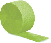 Club Pack of 12 Fresh Lime Green Crepe Paper Party Streamers 25m