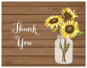 50 Sunflower Rustic Wood Wedding Thank You Cards