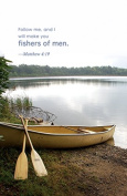 """""""Follow me, and I will make you Fishers of Men"""" Scripture Matthew 4:19 Church Bulletin with Perforated Tear-Off Panel - Legal Size 20cm - 1.3cm x 36cm"""