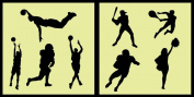 Auto Vynamics - STENCIL-REGSPORTS01-20 - Detailed Classic Sports / Athletics Stencil Set - Football, Baseball, Tennis, & Cheerleading! - 50cm by 50cm Sheets - (2) Piece Kit - Pair of Sheets