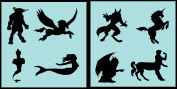 Auto Vynamics - STENCIL-MYTHICALSET01-10 - Detailed Classic Mythical Creatures Stencil Set - Everything From Minotaurs to Mermaids! - 25cm by 25cm Sheets - (2) Piece Kit - Pair of Sheets
