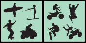 Auto Vynamics - STENCIL-ACTIONSPORTS01-10 - Detailed Extreme Action Sports Stencil Set - Surfing, Skating, Snowboarding, MX, and More! - 25cm by 25cm Sheets - (2) Piece Kit - Pair of Sheets