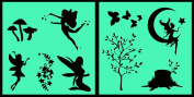 Auto Vynamics - STENCIL-FAERIESET01-20 - Detailed Woodland Fairy / Faerie Stencil Set - Multiple Faeries w/ Trees & Butterflies & More! - 50cm by 50cm Sheets - (2) Piece Kit - Pair of Sheets