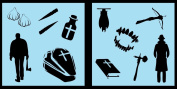 Auto Vynamics - STENCIL-VAMPHUNTERSET01-10 - Detailed Vampire Hunter / Exorcist Stencil Set - Includes Stakes, Holy Water, Coffins, & More! - 25cm by 25cm Sheet - (2) Piece Kit - Pair of Sheets