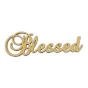 25cm (Blessed) Script Cursive Text Word Unfinished DIY Craft Cutout to Sell Ready to Paint Wooden Stacked