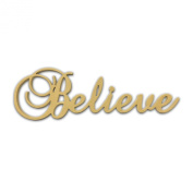 25cm (Believe) Script Cursive Text Word Unfinished DIY Craft Cutout to Sell Ready to Paint Wooden Stacked