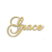 25cm (Grace) Script Cursive Text Word Unfinished DIY Craft Cutout to Sell Ready to Paint Wooden Stacked