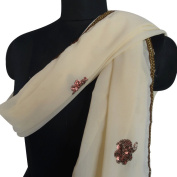 Indian Women Home Decor Georgette Fabric Used Crafted Material Vintage Dupatta Sequins Embroidered Work Stole Hijab