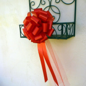Red Wedding Pull Bows with Tulle Tails - 23cm Wide, Set of 6