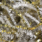 White Crinkle Cut Paper Metallic Mix - 0.2kg White and Gold Gift Basket Filling Christmas Shredded Paper