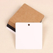 QINF Kraft Paper Square Hang Tags Lables for Bookmark Gift Bakery Packaging Favours Wedding Party Price Cards