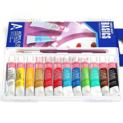 12 Pieces Mulit Colour Acrylic Peinture Acrylique Paint Tube Draw Drawing Painting Box Set Kit with Brushes , Ships from CA, USA.