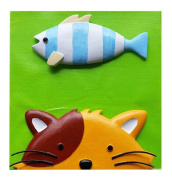 [Kitty & Fish] Cartoon 3D Paint-By-Number Kits Kids DIY Painting Crafts,Over 5Y