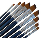 ARTIST PAINT BRUSHES - A - Professional Quality Black Tip, Golden Nylon, Long Handle, Angular Paint Brush Set - Ideal for Acrylic Painting and Oil Painting, and Equally Useful for Watercolour Painting and Gouache Colour Painting. - The Natural Characte ..