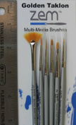 Golden Taklon Mini Detail Brush Set Fan 2/0, Liner 20/0, Flat 2, Detail 10/0, 1, Angle 0.3cm