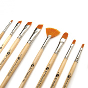 Oil, Acrylic & Watercolour Fine Art Set of 8 Paint Brushes - Best Variety of Angle Shaders and Filberts plus a FREE Fan Brush - Durable Golden Synthetic Bristles - Comfortable Short Handles for Detailed Work - Easy to Clean - Hand Made in USA - Excelle ..