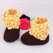Dealzip Inc® Size XL Unisex Toddler Baby Boys Girls Handmade Knitted Prewalker Boots Socks Shoes-Yellow & Brown+Random gift