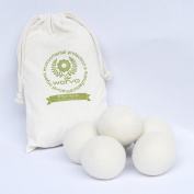 Wotvo Wool Dryer Balls 6 Pack 100% Organic Wool - Fabric Softener Replacement for Clothes and Laundry Size XL 23cm Circumference