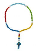15mm Wood Bead First Rosary - with Blue Cross with Mary and Baby Jesus