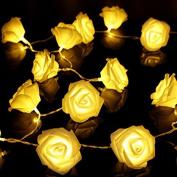 20 LED Battery Operated Rose Flower String Lights Wedding Garden Christmas Decor