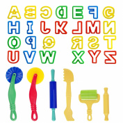 Kare and Kind Smart Dough Tools set of 32pcs with Dough tools and Capital Letters (Alphabet) - Assorted colour