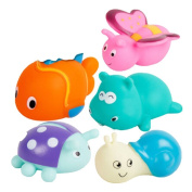 Kangkang@ 5 Creative Lovely Fish/snail/butterfly/ladybird/rhinoceros Squirt Bathtub Toys Baby Bath Water Spray Toy Duck Watering Pot Suit Children Play Beach Swimming Pinching