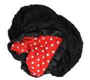 Onyx Arrow Baby Blanket, Red White Polka Dot Cotton Print, Black Minky Dot, Satin Ruffle Trim, Mix and Match