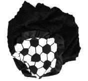 Onyx Arrow Baby Blanket, Soccor Ball Cotton Print, Black Minky Dot, Satin Ruffle Trim, Mix and Match